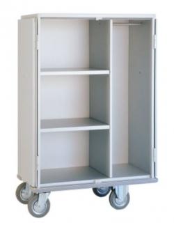 Chariot armoire à linge 2 étagères + penderie, avec portes