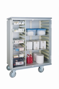 Armoire de rangement 1 section + 2 étagères pour bacs ISO-NORM