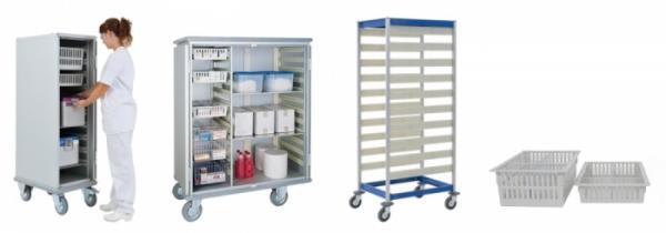 Chariot et armoire pour bacs Isonorm