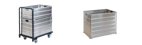 Caisse gerbable en aluminium et chariot de transport
