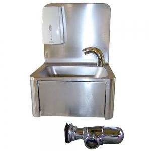 Lave-mains inox avec bords arrondis, distributeur de savon et robinet electronique