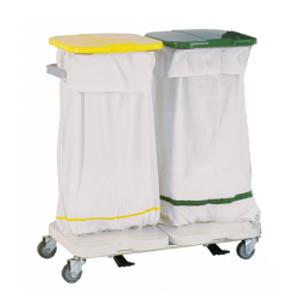 Chariot de collecte du linge sale - 2 sacs