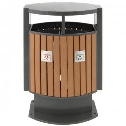 Poubelle d'extérieur en bois pour tri sélectif 2x39L