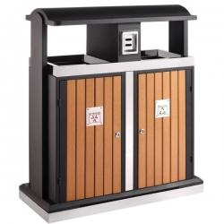 Poubelle d'extérieur en bois pour tri sélectif 2x50L