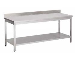 Table inox professionnelle - Largeur 600mm avec dosseret