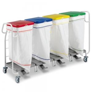 Support-sacs à linge sale - quadruple - 2 poignées de guidage