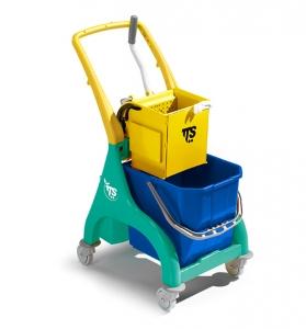 Chariot avec seau de lavage et presse à plat
