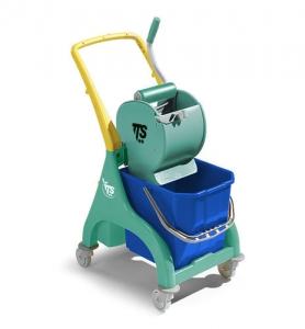 Chariot avec seau de lavage et presse à rouleau