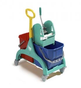 Chariot double seau de lavage avec presse à mâchoire