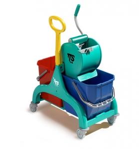 Chariot double seau de lavage avec presse à rouleau