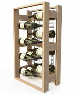 Présentoir à vin professionnel, en bois - 16 bouteilles de vin magnums 150cl