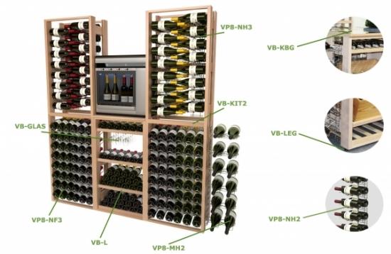 Accessoires pour présentoir à vin professionnel, en bois
