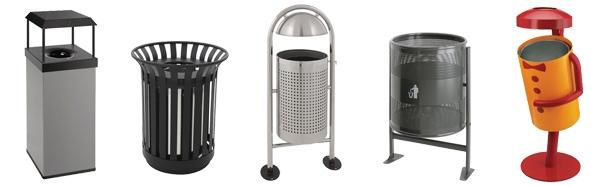 Poubelle d'extérieur en acier - Matériel / Equipement EHPAD - Maison de retraite