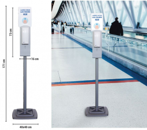 Distributeur de gel hydroalcoolique automatique - Sur pied
