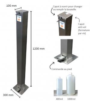 Distributeur de gel hydroalcoolique manuel INOX- Sur pied