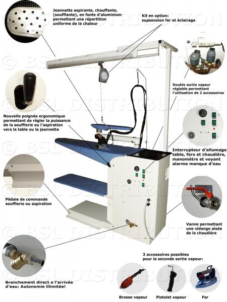 Table repasser professionnelle chauffante aspirante for Centrale vapeur professionnelle pour pressing