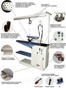 Table à repasser professionnelle LAZIO, Aspirante, Chauffante avec Générateur vapeur intégré