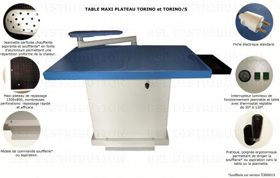 Table à repasser professionnelle RECTANGULAIRE TORINO, TONRINO /S, Aspirante, Soufflante, Chauffante