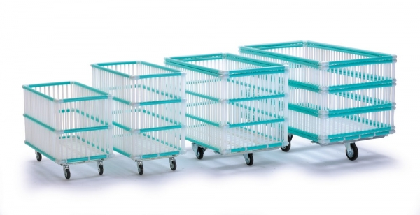 Chariot de blanchisserie en tubes plastiques