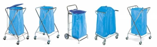 Chariot porte sacs à déchets pliant