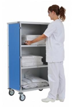 Chariot armoire à linge 2 étagères avec portes PVC