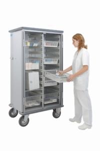 Armoire de rangement 2 sections pour bacs ISO-NORM