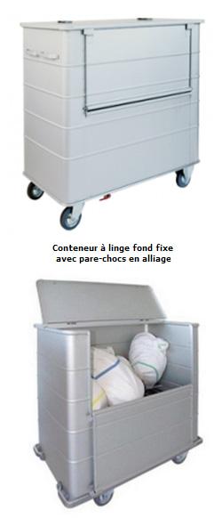 Chariot conteneur à linge sale - parois nervurées, fond fixe ou remontant, 1000L