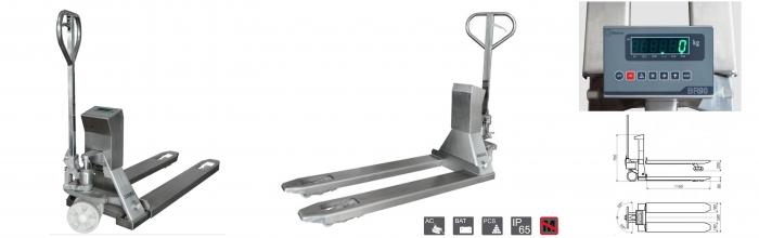 Transpalette peseur INOX 2000kg, précision 1kg