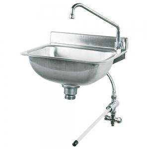 Lave-mains en inox à commande fémorale