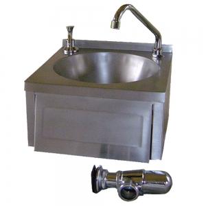 Lave-mains en inox avec distributeur de savon intégré