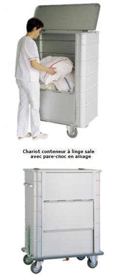 Chariot conteneur à linge sale - parois nervurées, fond fixe, 714L