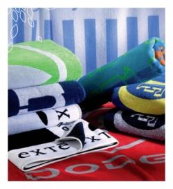 Tissage Jacquard personnalisé sur essuie-mains, serviettes et draps de bain sur mesure