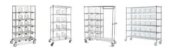 Chariots à casiers pour distribution du linge propre