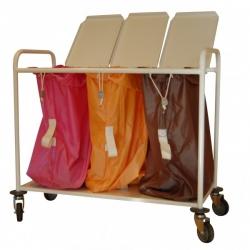 Chariot porte-sacs à linge sale - 3 sacs