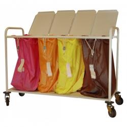 Chariot porte-sacs à linge sale - 4 sacs