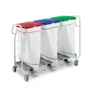 Support-sacs à linge sale - triple - 2 poignées de guidage