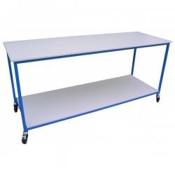 Table bois mélaminé professionnelle - 2 plateaux - Sur roues