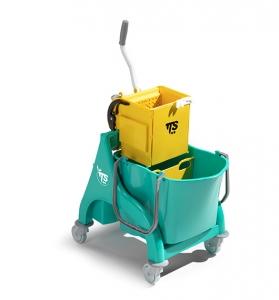 Chariot avec seau de lavage à cloison et presse à plat