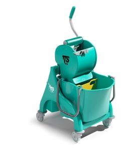 Chariot avec seau de lavage à cloison et presse à rouleau