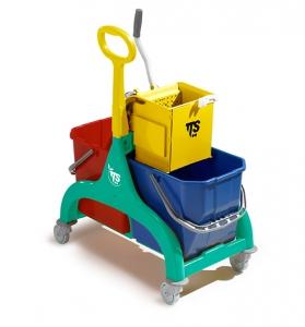 Chariot double seau de lavage avec presse à plat