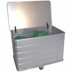 Bac à linge fond fixe en aluminium avec couvercle - De 305 à 555L