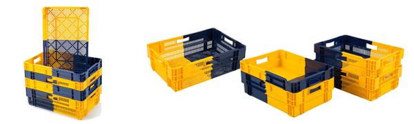 Bac plastique Euronorm 600x400mm BICOLOR - Gerbable et emboitable