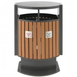 Poubelle d'extérieur aspect bois pour tri sélectif 2x39L