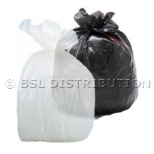 Sac poubelle 130L Transparent ou Noir - Lot de 200 sacs