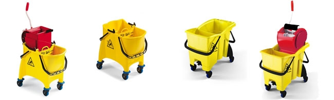 Seau de lavage sur roues - double bacs et vidange - Matériel / Equipement EHPAD - Maison de retraite