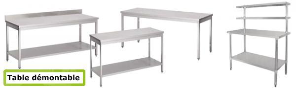 Table INOX professionnelle démontable