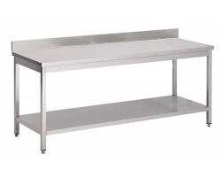 Table de cuisine en acier INOXYDABLE- soudée/monobloc - Largeur 700mm - avec dosseret