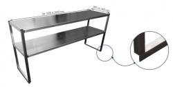 Étagère double inox sur colonnettes (pour table de cuisine) - 2 Niveaux