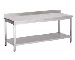 Table de cuisine en acier INOXYDABLE- soudée/monobloc - Largeur 800mm - avec dosseret
