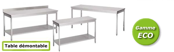 Table INOX professionnelle démontable - ECO